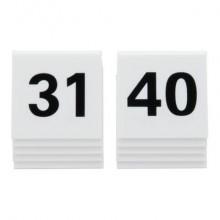 Segnaposto Securit® in acrilico rigido numeri da 31 a 40 bianco set da 10 pezzi - TN-31-40-WT