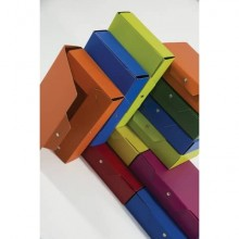 Cartella portaprogetti con bottoni BREFIOCART in presspan 25x35 cm dorso 12 cm blu  Conf. 5 pezzi - 020E7616.BL