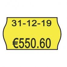 Rotolo da 1000 etichette per prezzatrice Printex sagomate 26x16 mm giallo fluo removibile  conf. 10 rotoli - 2616sfr7gi