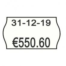 Rotolo da 1000 etichette per prezzatrice Printex sagomate 26x16 mm bianco con stampa rossa DATA - 2616sbp10stps