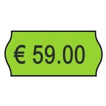 Rotolo da 1000 etichette per prezzatrice Printex sagomate 26x12 mm verde perm. conf. 10 rotoli - 2612sfp10ve