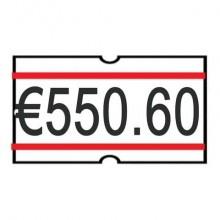 Rotolo da 1200 etichette per prezzatrice Printex sagomate 21x12 mm bianco/rosso perm.  conf. 10 rotoli - B10/2112RBPST