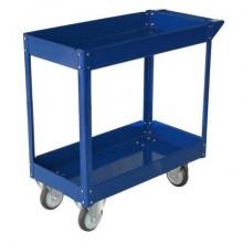 Carrello in acciaio Serena Group a 2 ripiani blu TC4102