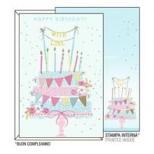 """Biglietti augurali Kartos """"Buon Compleanno"""" torta con festoni 07312302A (Conf.6)"""