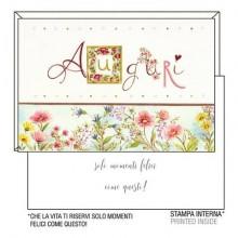 """Biglietti augurali Kartos """"Auguri"""" fiori rosa e lilla 07548001B (Conf.6)"""