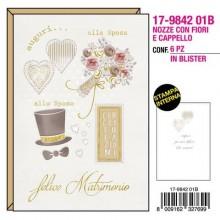 """Biglietti augurali Kartos """"Nozze"""" fiori e cappello oro e rilievo 17984201B (Conf.6)"""