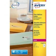 Etichette trasparenti per indirizzi AVERY 63,5 x 38,1 mm 25 fogli - L7560-25