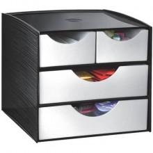 Cassettiera da tavolo CEP Take a break 4 cassetti 18,5x18,6x17,5 cm nero 1082110561