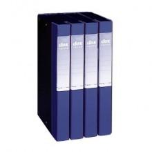 Cartella a 3 lembi con elastico a banda Dox Order 26,5x34 cm dorso 4 cm blu - 274604