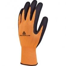 Guanto da lavoro Delta Plus in maglia poliestere - spalmatura lattice schiuma arancio-nero taglia 9 - VV733OR09