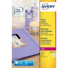 Etichette permanenti Avery 99,1x67,7 mm bianco lucido Laser 8 et./foglio Conf. 40 fogli - L7765-40