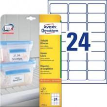 Etichette permanenti per freezer Avery 63,5x33,9 mm bianco Laser 24 et./foglio Conf. 25 fogli - L7970-25