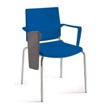 Sedia comunità a 4 gambe con tavoletta Unisit Atenea ATBRT - PPL nero - con braccioli -ATBRT/NE