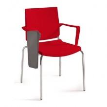 Sedia comunità a 4 gambe con tavoletta Unisit Atenea ATBRT - PPL rosso - con braccioli -ATBRT/RO