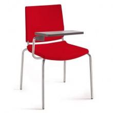 Sedia comunità a 4 gambe Unisit Atenea ATT - PPL rosso - bracciolo con tavoletta scrittoio - ATT/RO