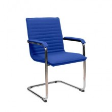 Sedia visitatore su slitta Unisit Cyndy CNS - rivestimento ignifugo blu - con braccioli - CNS/IB