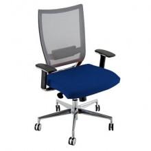 Sedia semidirezionale girevole Unisit Concept COTXL schienale in rete grigio - rivestimento fili luce blu - COTXL/F11