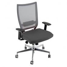 Sedia semidirezionale girevole Unisit Concept COTXL schienale in rete grigio - rivestimento fili luce grigio COTXL/F14