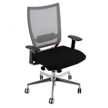 Sedia semidirezionale girevole Unisit Concept COTXL schienale in rete grigio - rivestimento similpelle nero - COTXL/KN
