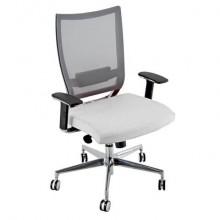 Sedia semidirezionale girevole Unisit Concept COTXL schienale in rete grigio - rivestimento similpelle bianco COTXL/KQ