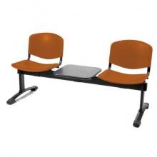 Panca 2 posti attesa Unisit Dado D52PT con tavolino - rivestimento Eco arancione - D52PT/EA