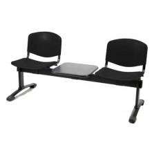 Panca 2 posti attesa Unisit Dado D52PT con tavolino - rivestimento ignifugo nero - D52PT/IN