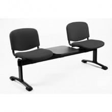 Panca 2 posti attesa Unisit Dado D52PT con tavolino - rivestimento ignifugo grigio scuro - D52PT/IT