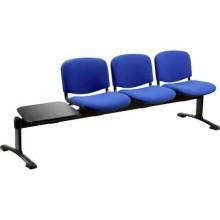 Panca 3 posti attesa Unisit Dado D53PT con tavolino - rivestimento ignifugo blu - D53PT/IB