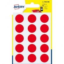 Etichette rotonde colorate AVERY rosso Ø 19 mm 6 fogli - PSA19R