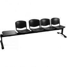 Panca 4 posti attesa Unisit Dado D54PT con tavolino - rivestimento Eco nero - D54PT/EN
