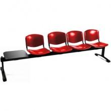 Panca 4 posti attesa Unisit Dado D54PT con tavolino - rivestimento Eco rosso - D54PT/ER