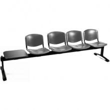 Panca 4 posti attesa Unisit Dado D54PT con tavolino - rivestimento Eco grigio scuro - D54PT/ET