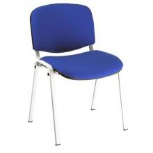 Sedia visitatore 4 gambe Unisit Dado D5B acciaio bianco - rivestimento eco blu - Conf. 2 pezzi - D5B/2/EB