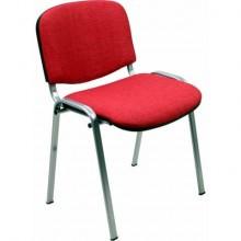 Sedia visitatore 4 gambe Unisit Dado D5G acciaio grigio - rivestimento eco rosso - Conf. 2 pezzi - D5G/2/ER