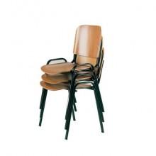 Sedia visitatore a 4 gambe Unisit Dado D5L in legno - struttura acciaio nero - conf. 2 pezzi - D5L/2