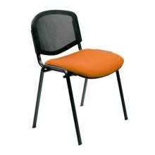 Sedia visitatore 4 gambe Unisit Dado D5N schienale in rete - rivestimento eco arancione - Conf. 2 pezzi - D5N/2/EA