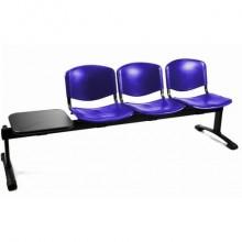 Panca 3 posti attesa Unisit Dado D5P3PT con tavolino - PPL blu D5P3PT/BL