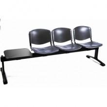 Panca 3 posti attesa Unisit Dado D5P3PT con tavolino - PPL nero D5P3PT/NE