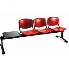 Panca 3 posti attesa Unisit Dado D5P3PT con tavolino - PPL rosso D5P3PT/RO
