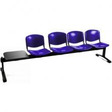 Panca 4 posti attesa Unisit Dado D5P4PT con tavolino - PPL blu D5P4PT/BL