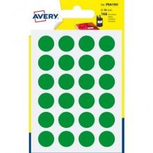 Etichette rotonde colorate AVERY verde Ø 15 mm 7 fogli - PSA15V