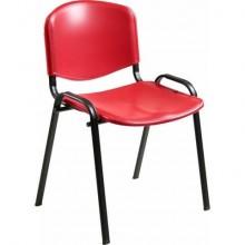 Sedia visitatore a 4 gambe Unisit Dado D5PS - struttura nera - PPL rosso - conf. 2 pezzi - D5PS/2/RO