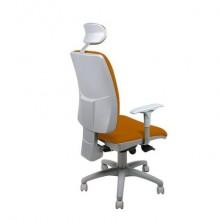Sedia operativa girevole Unisit Dione DIA con poggiatesta - rivestimento Eco arancione - con braccioli - DIA/EA