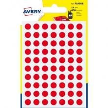 Etichette rotonde colorate AVERY rosso Ø 8 mm 7 fogli - PSA08R