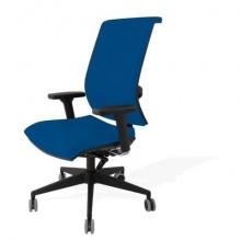 Sedia semidirezionale girevole Unisit Galatea GTJE schienale in rete - rivest. ignifugo blu con braccioli GTJE/BR/IB