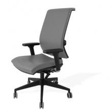 Sedia semidirezionale girevole Unisit Galatea GTJE schienale in rete - rivest. pelle grigio con braccioli GTJE/BR/PT