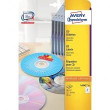 Etichette per CD AVERY foro largo bianche Ø117 mm 25 fogli - L6043-25