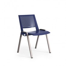 Sedia visitatore a 4 gambe Unisit Kentra KEV base nera schienale traspirante PPL blu - KEV/BL