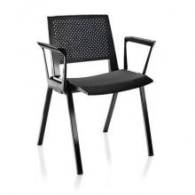 Sedia visitatore a 4 gambe Unisit Kentra KEV base nera schienale traspirante PPL nero - KEV/NE