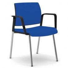 Sedia visitatore 4 gambe Unisit Kind KI4GNBR rivestimento fili di luce blu - con braccioli - KI4GNBR/F11